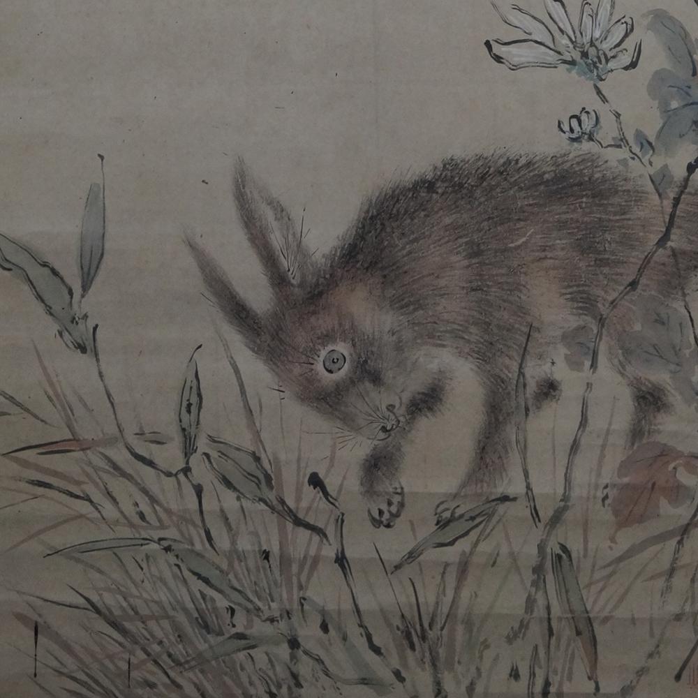 Der Hase im Gras - Japanisches Rollgemälde (Kakejiku)