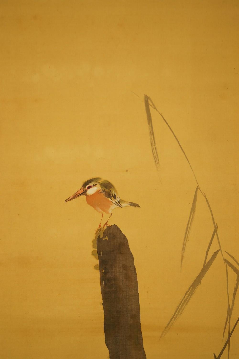 Eisvogel auf einem Stock - japanisches Rollgemälde (Kakejiku, Kakemono)
