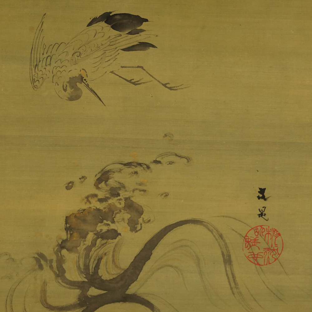 Kranich - Japanisches Rollbild (Kakejiku, Kakemono)