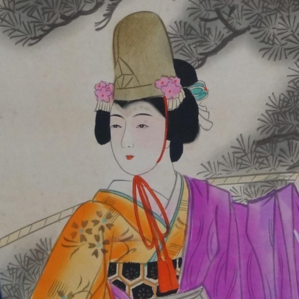 Schönhit im Kimono - Japanisches Rollgemälde (Kakejiku)