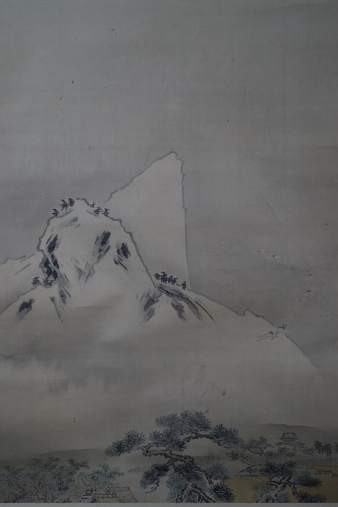 Die Kiefern und die Kraniche - Japanisches Rollgemälde (Kakejiku)