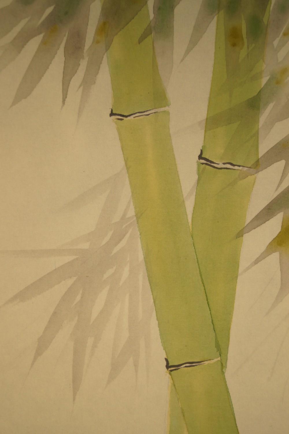 Spatzen am Bambusstrauch - japanisches Rollgemälde (Kakejiku, Kakemono)