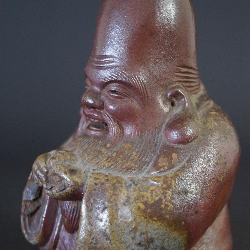 Japanische Fukurokuju Figur aus Bizen Keramik