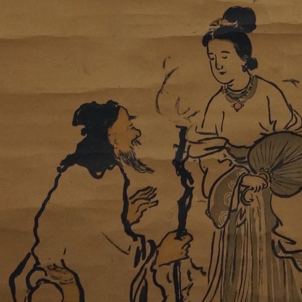 Der Wanderer und die Schönheit - Japanisches Rollgemälde (Kakejiku)
