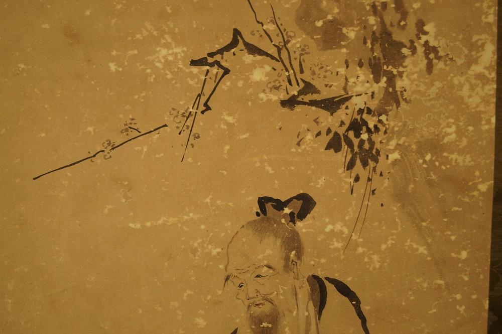 Der Einsiedler und der Kranich - japanisches Rollgemälde (Kakejiku, Kakemono)