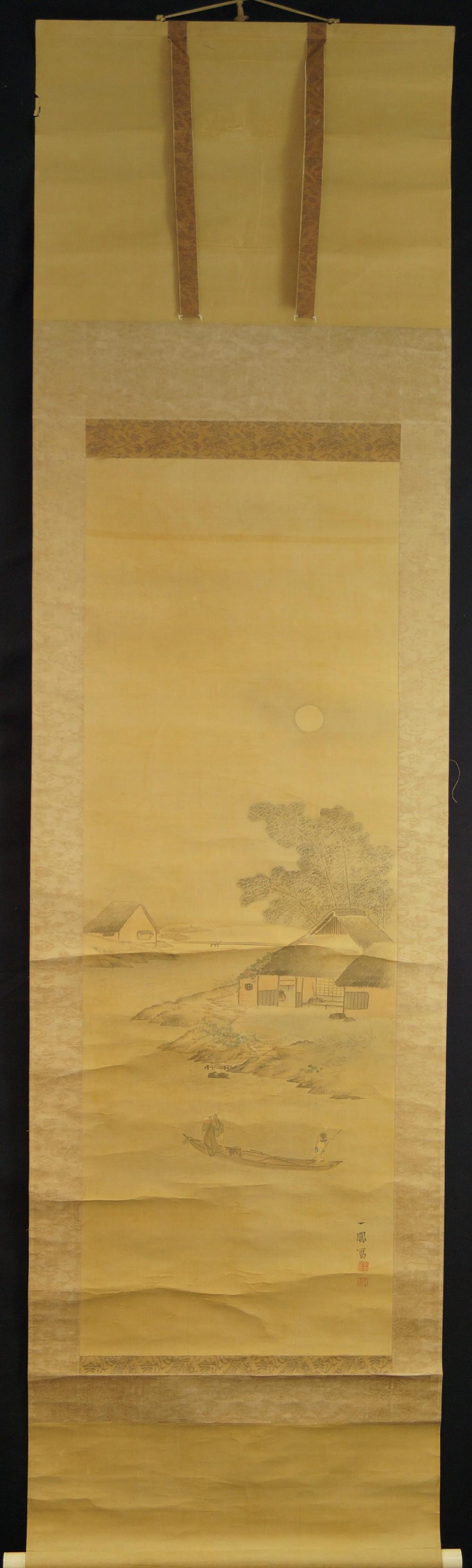 Fischerhütten im Mondschein - Japanisches Rollbild (Kakejiku, Kakemono)